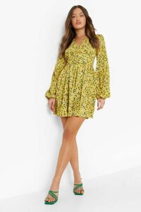 Womens Ruched Waist Floral Tea Dress - yellow - 16, Yellow