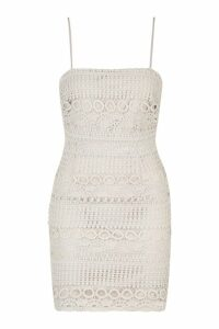 Womens Lace Square Neck Bodycon Dress - grey - 14, Grey