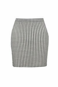 Womens Check Print Basic Mini Skirt - black - 12, Black