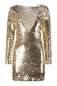 Womens Boutique Sequin Bodycon Dress - metallics - 12, Metallics