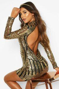 Womens Boutique Sequin and Mesh Bodycon Dress - metallics - 10, Metallics