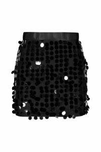 Womens Multi Disc Sequin Mini Skirt - black - 10, Black