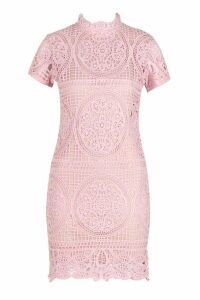 Womens Boutique Crochet Lace Bodycon Dress - pink - 12, Pink