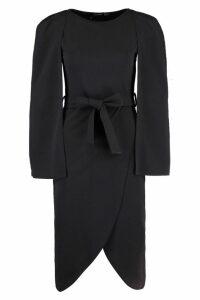 Womens Cape Tailored Belted Midi Dress - black - 8, Black