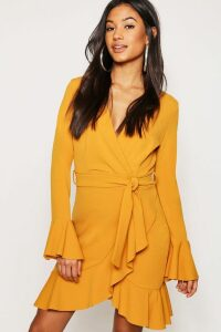 Womens Frill Sleeve Tie Waist Ruffle Hem Tea Dress - yellow - 16, Yellow
