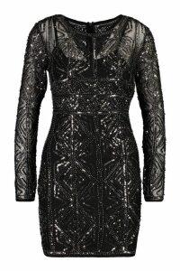 Womens Boutique Embellished Bodycon Dress - grey - 14, Grey