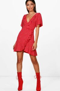 Womens Ditsy Heart Tea Dress - red - 16, Red