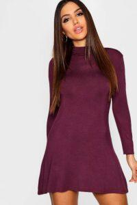 Womens High Neck Long Sleeved Swing Dress - Purple - 16, Purple