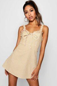 Womens Ruffle Shoulder Gingham Mini Dress - yellow - 16, Yellow