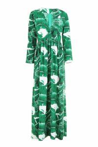 Womens Floor Sweeping Palm Print Maxi Dress - Green - 10, Green