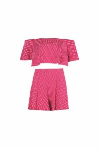 Womens Polka Dot Off Shoulder Crop & Short Co-Ord - red - 8, Red