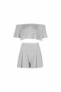 Womens Polka Dot Off Shoulder Crop & Short Co-Ord - white - 10, White