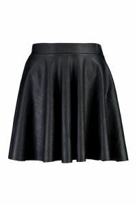 Womens Leather Look Full Skater Skirt - black - 14, Black