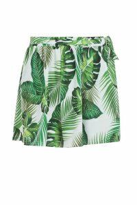 Womens Palm Print Tie Belt Shorts - green - 16, Green