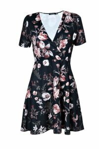 Womens Wrap Floral Skater Dress - black - 10, Black