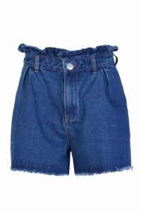 Womens Paperbag Waist Denim Mom Shorts - blue - 14, Blue