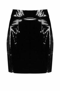 Womens High Waist Vinyl Mini Skirt - black - 10, Black