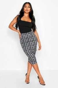 Womens Monochrome Check Midi Skirt - black - 16, Black