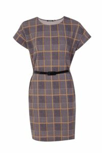 Womens Belted Check Shift Dress - yellow - 14, Yellow