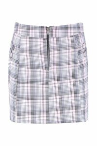Womens Buckle Detail Woven Check Mini Skirt - pastel pink - 14, Pastel Pink
