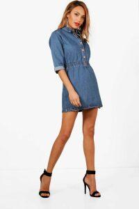 Womens Popper Front Denim Dress - blue - 14, Blue