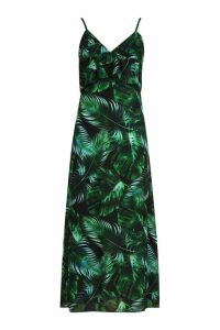 Womens Samantha Ruffle Palm Print Midaxi Dress - black - 14, Black