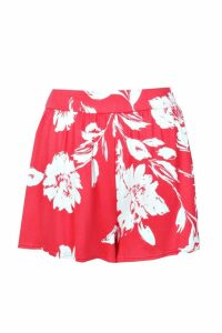 Womens Floral Flippy Shorts - red - 12, Red