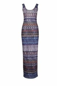 Womens Printed Sleeveless Maxi Dress - multi - 16, Multi