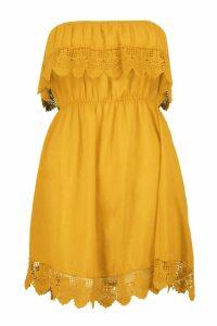 Womens Crochet Trim Sundress - yellow - S, Yellow