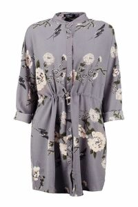 Womens Floral Shirt Dress - grey - 16, Grey