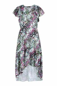 Womens Boho Mixed Floral Print Midi Dress - black - 14, Black