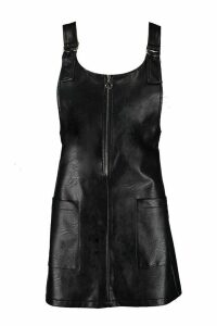 Womens Faux Leather Pocket Pinafore Dress - black - 10, Black