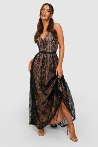 Womens Boutique All Lace Plunge Neck Maxi Dress - black - M, Black