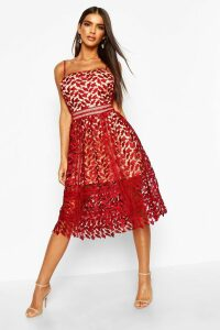 Womens Corded Lace Detail Midi Skater Dress - red - 14, Red