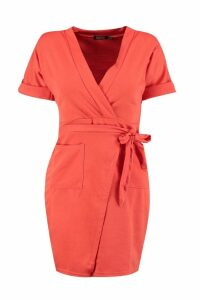 Womens Obi Tie Wrap Dress - Red - 12, Red
