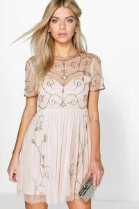 Womens Boutique Embellished Skater Dress - Beige - 16, Beige