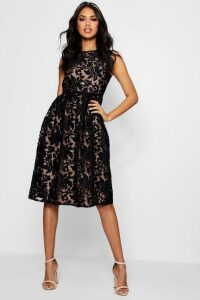 Womens Boutique Embroidered Organza Skater Dress - black - 16, Black