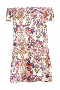 Womens Floral Print Off The Shoulder Dress - multi - 16, Multi