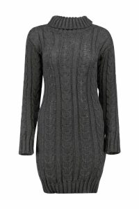 Womens Cable Knit Jumper Dress - grey - M/L, Grey