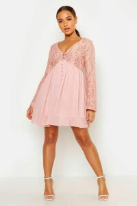 Womens Corded Lace Button Woven Smock Dress - pink - 14, Pink
