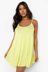 Womens Basic Swing Dress - yellow - 16, Yellow