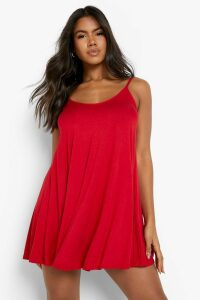 Womens Basic Swing Dress - red - 12, Red
