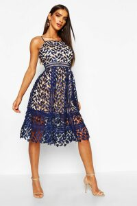Womens Corded Lace Detail Midi Skater Dress - navy - 14, Navy