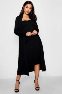 Womens Bandeau Dress & Duster Co-Ord Set - black - 14, Black