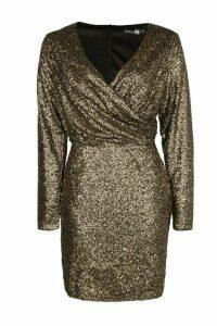 Womens Boutique All Over Sequin Bodycon Dress - metallics - 10, Metallics