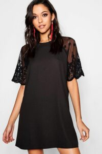 Womens Lace Sleeve Shift Dress - black - 12, Black