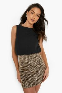 Womens 2 in 1 Chiffon Top Sequin Skirt Bodycon Dress - black - 10, Black