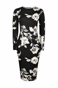 Womens Long Sleeve Midi Bodycon Dress - multi - 16, Multi