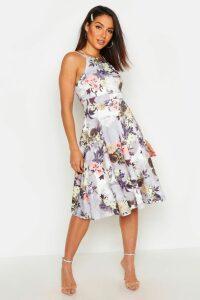 Womens Floral Print Strappy Full Skater Dress - grey - 16, Grey