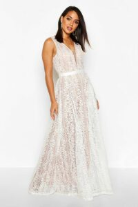 Womens Boutique All Lace Plunge Neck Maxi Dress - white - S, White